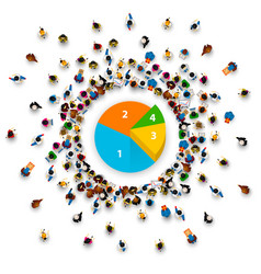 people surround pie chart vector image
