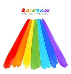 rainbow watercolor brush smears vector image