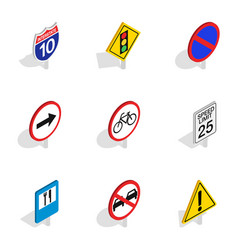 Road and highway sign icons isometric 3d style vector