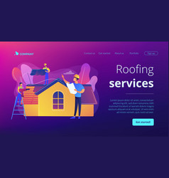 Roofing services concept landing page vector