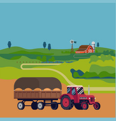 Rural landscape with tractor vector