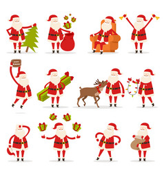 santa claus activities set new year and christmas vector image
