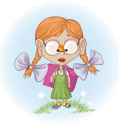 School girl with butterfly vector