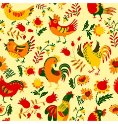 Seamless pattern with roosters vector