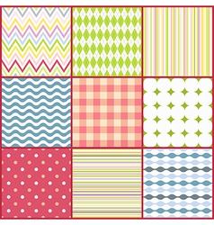 set nine colorful seamless patterns vector image