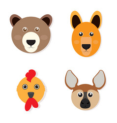 Set of animal faces vector