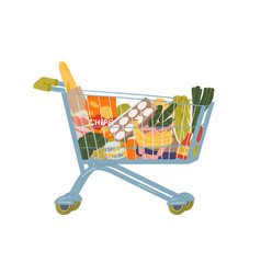 shopping cart full food and drink flat vector image