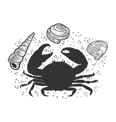 silhouette a crab on beach sketch vector image