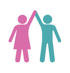 silhouette color pictogram of couple taken of vector image