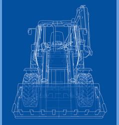 Sketch of loading shovel with back actor vector