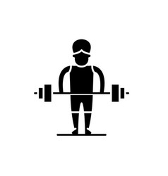 strong man black icon sign on isolated vector image