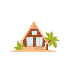 summer beach house tropical bungalow vector image