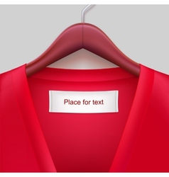 t-shirt with label hanging on a hanger vector image