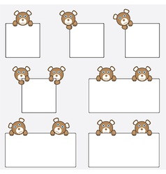 Teddy bear holding blank banners vector image