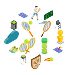 tennis icons set isometric 3d style vector image