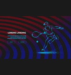 tennis player with racket sport background for vector image