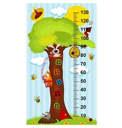 Tree house height measure vector