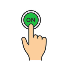 Turn on button click color icon vector