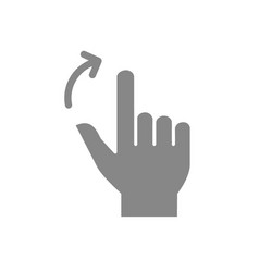 two fingers flick right grey icon touch screen vector image