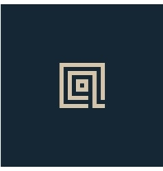 Unusual geometric letter q architecture vector
