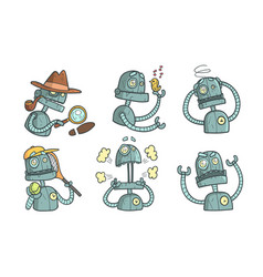 Vintage robot character set funny steampunk vector