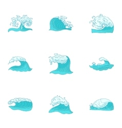Wave icons set cartoon style vector image