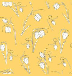 wild tulip fritillaria flowers seamless pattern vector image
