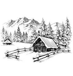 Winter cabin in mountains vector