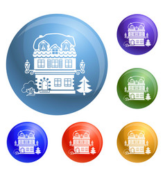 winter house icons set vector image