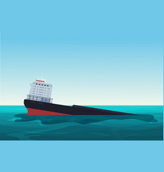 wrecked oil tanker ship oil spill accident vector image