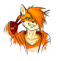 Young fluffy fox gesture shows victory fox furry vector