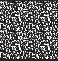 Zodiac signs seamless pattern hand drawn vector