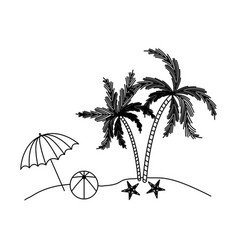 black silhouette of beach with palm trees and vector image vector image