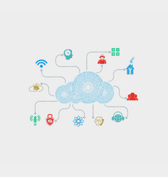 cloud computer made of numbers vector image vector image