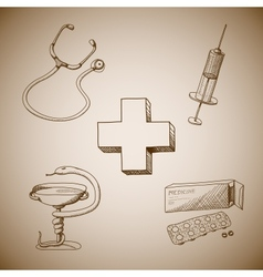 Collection of medical symbols vector image vector image