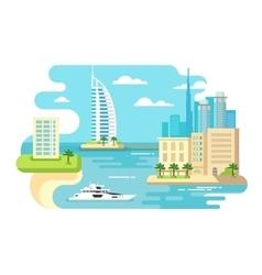 Dubai city beach skyline vector