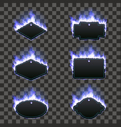 Set of six frames surrounded with blue flame vector