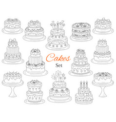 cakes set hand drawn doodle vector image vector image