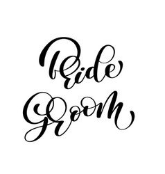 groom and bride hand drawn lettering vector image vector image