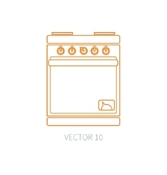 Line flat kitchenware icons - oven Cutlery vector image vector image