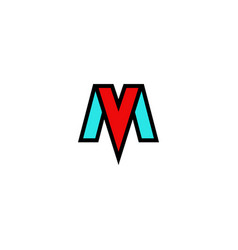 logo mv letters elegant flat emblem combination vector image