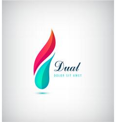 abstract dual 2 parts vibrant logo vector image vector image