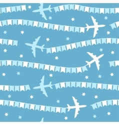 Cartoon airplane with flags seamless pattern vector image vector image