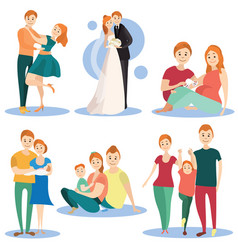 flat icons set of happy loving couples vector image