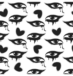 Grunge hearts and tearful eyes pattern vector image vector image