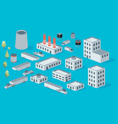 isometric icon set factory production buildings vector image vector image