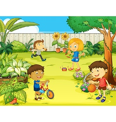 Kids playing in beautiful nature vector image