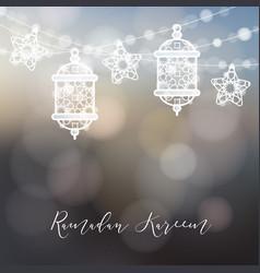string of ornamental arabic lanterns lights and vector image