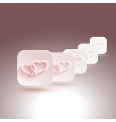 stylish design hearts with shadows for vector image vector image