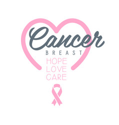 breast cancer hope love care label with heart vector image